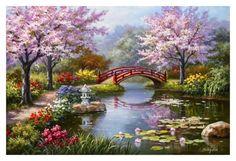 Japanilainen puutarha kukkii Julisteet tekijänä Sung Kim AllPosters.fi-sivustossa