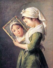Elisabeth Vigee Le Brun - Portrait of daughter Julie Lebrun, 1781 Classic Paintings, Old Paintings, Michel David, Infinite Art, Illustration Art, Illustrations, Pierre Auguste Renoir, Elisabeth, Mirror Art