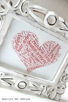 Creating Personalized Word Cloud Art with Tagxedo - Driven By Decor Create Word Cloud, Word Cloud Art, Word Art, Word Clouds, Valentine Heart, Valentines, Tagxedo, Word Collage, Driven By Decor