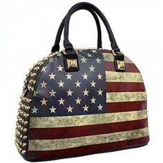 USA Vintage Flag Rhinestone Studded Bowler Tote Bag Black >>> Find out more about the great product at the image link.