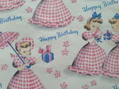 Vintage Gift Wrapping Paper - Juvenile Mid Century - Pink Gingham Birthday Girls - 1 Unused Full Sheet Birthday Gift Wrap by Norcross
