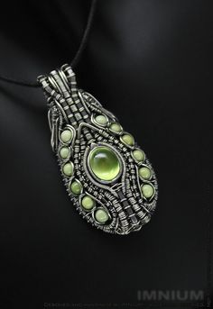 Prehnite and jade pendant sterling silver wire wrapped by IMNIUM