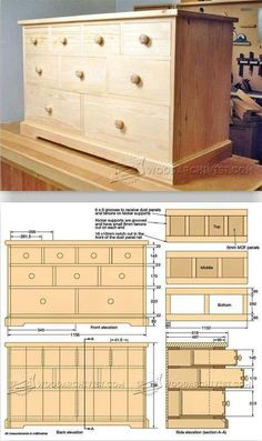 Build Chest of Drawers - Furniture Plans and Projects - Woodwork, Woodworking, Woodworking Plans, Woodworking Projects Woodworking Furniture Plans, Woodworking Jigs, Woodworking Projects Plans, Woodworking Classes, Carpentry Projects, Woodworking Patterns, Woodworking Machinery, Woodworking Workshop, Woodworking Basics