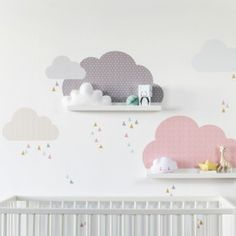 Nursery wall art: Cloudy Sky Wall decal Musta suitable The post cloud wall stickers cloud shelf cloud stickers cloud nursery cloud stickers nursery cloud decal IKEA MOSSLANDA (shelf NOT included) appeared first on Children's Room. Childrens Shelves, Childrens Room Decor, Baby Room Decor, Baby Bedroom, Nursery Room, Kids Bedroom, Kids Rooms, Bedroom Wall, Ikea Mosslanda