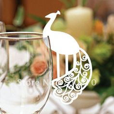 EC1108 23 12pcs/pack Laser Cutting Peacock Place card for Wine Glass Card(color and pattern can be customized)-in Event & Party Supplies from Home & Garden on Aliexpress.com
