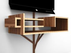 """Tree 2.0 is an all-in-one solution for organizing your TV entertainment peripherals that's perfect for wall-mounted systems. The """"branches"""" of the tree hide unsightly cables all the way from the base to the canopy where receivers, DVD players or gaming systems are supported by multi-level shelves. Designer: Hall Design great for the video gamer"""