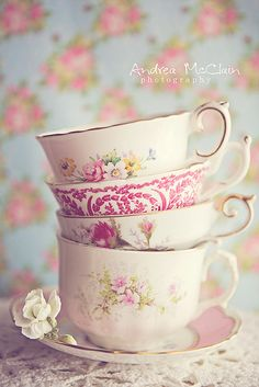Teacups by Andrea McClain #pastels #shabbychic
