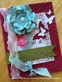 Stampin Up card, Beautiful wings Embosslits, Papaya Collage stamp set, Blossom punch, Fancy Flower punch