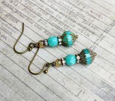 Turquoise Earrings Green Earrings Boho Earrings by SmockandStone