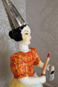 Nostalgic Folk Art,Carol Roll,paper mache mixed media sculpture Kitchen Witch/Angel by NostalgicFolkArt on Etsy