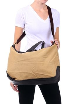 Stylish Leather and Canvas Shoulder Bag
