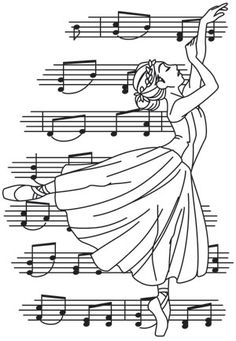 A sheet of music falls behind the soft form of a ballerina. Stitch your notes and details in metallic thread for a classic look on home decor, and more. Hand Embroidery Tutorial, Simple Embroidery, Embroidery Patterns, Banner Doodle, Free Printable Coloring Sheets, String Art Patterns, Fabric Cards, Urban Threads, Outline Drawings