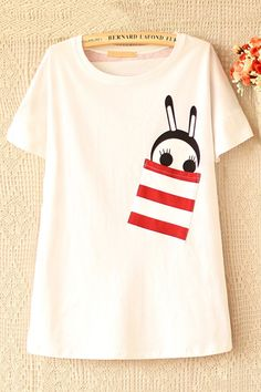Striped Cute Cartoon Rabbit Print Tee - OASAP.com