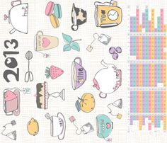 Tea Party Essentials 2013 Calendar fabric by muymajobv on Spoonflower - custom fabric