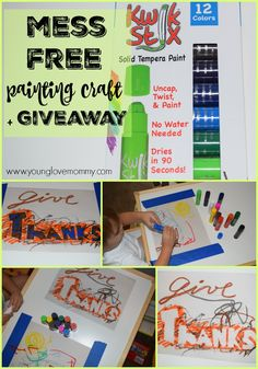 Mess Free Painting Craft and a Fun Giveaway #toddlercraft #kwikStix #giveaway
