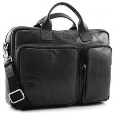 Jones 17'' Aktentasche glänzendes Leder schwarz