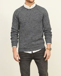 Shop rugged Men's Sweaters to find collegiate favorites with classic style. Abercrombie & Fitch Men's Sweaters are unrivaled in texture and softness. Dope Sweaters, Mens Fashion Sweaters, Moda Chic, Moda Boho, Sweater Outfits, Casual Outfits, Men Sweater, Teen Guy Style, Mens Wholesale Clothing