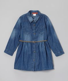 Take a look at this Denim Belted Button-Up Tunic - Toddler & Girls on zulily today!