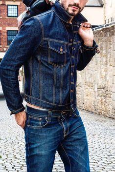Mens Boots Fashion, Denim Fashion, Levi Denim Jacket, Denim Jackets, Beard Suit, Formal Shirts For Men, Raw Denim, Men's Denim, Nudie Jeans
