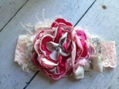 Slumber Party Pink Cream and Grey Flower by CozetteCouture on Etsy, $30.99