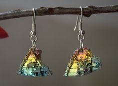 Bismuth Crystal Earrings Beautiful Colors by bismuthcrystalarts, $19.99