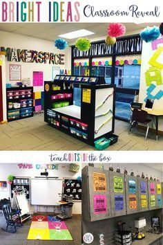 Bright Ideas Classroom Reveal Bright Ideas Makerspace and One Stop Maker Shop designed by Brooke Brown of Teach Outside the Box Kindergarten Classroom Setup, Elementary Classroom Themes, Classroom Layout, Classroom Decor Themes, First Grade Classroom, Special Education Classroom, Classroom Design, Future Classroom, Classroom Ideas