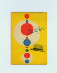 Max Huber  Borsalino Hats  1949 Postcard by designcollect on Etsy