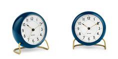 """Station"" table clock in petrol blue, Arne Jacobsen."