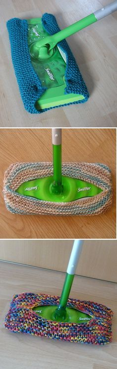 Free Knitting Pattern for Re-usable Swiffer Cover - Great beginner pattern. Very easy quick knit sweeper cover is a great alternative to the disposable cloths and pads. It can be used dry for dust and pet hair or wet for mopping. Knit in garter stitch wit Beginner Knitting Patterns, Easy Knitting, Knitting For Beginners, Loom Knitting, Knitting Projects, Crochet Projects, Sewing Projects, Sewing Tips, Crochet Afghans