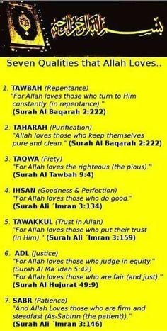 7 qualities that Allah swt loves Islam Hadith, Allah Islam, Islam Muslim, Islam Quran, Alhamdulillah, Prophets In Islam, Quran Verses, Quran Quotes, Faith Quotes