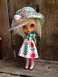 dolly molly HAT Spring rosette green flowers  for by dollymolly