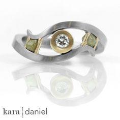 vintage diamond engagement ring with raw diamond accents | #customjewelry #recycled #karadanieljewelry