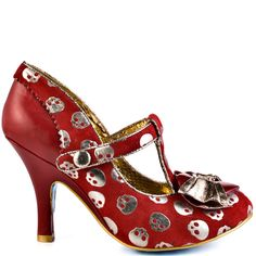 Chill out in the Chilly Dog by Irregular Choice.  A red soft fabric is printed with metallic skulls and layered bow at the toe box.  This t-strap features a simple 4 inch heel to keep your strut steady.