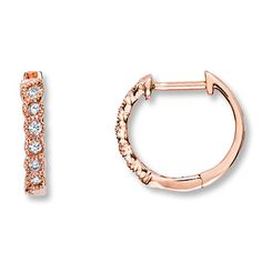 Angara Rose Gold Diamond Hoop Earrings hEWOLG