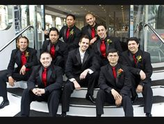 groomsmen tux black and red - Google Search