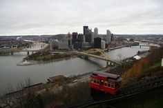 UncoveringPA | Overlooking Pittsburgh from Mount Washington: The Best Urban Vista in the World - UncoveringPA ~ The Duquesne Incline with downtown Pittsburgh in the background.