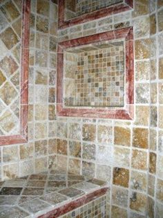 scabos travertine bathroom | Travertine Shower (change red to something else!)