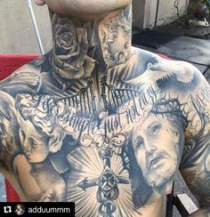 Tattoo For Guys Neck Posts 35 Ideas Gangsta Tattoos, Dope Tattoos, Cool Chest Tattoos, Chest Piece Tattoos, Pieces Tattoo, Body Art Tattoos, Girl Tattoos, Neck Tattoos, Christ Tattoo