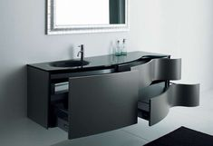 best small bathroom storage ideas for . We've already done the work for you when it comes to finding and curating small bathroom storage ideas. Black Bathroom Furniture, Contemporary Bathroom Furniture, Black Cabinets Bathroom, Black Vanity Bathroom, Bathroom Vanity Storage, Bathroom Vanity Designs, Modern Bathroom Design, Bathroom Interior, Small Bathroom
