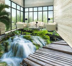 Benutzerdefinierte 3d Boden Wandmalereien Wasserdichte Wand Papier  Selbstklebende 3d Bodenbelag Wasserfall Schlafzimmer Tapete 3d Bodenfliesen