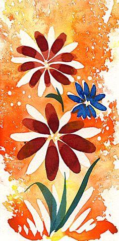 @Lezley Davidson, Burgundy Flowers, 2013, 6 x 3, mixed media