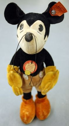 "Tagged 1930's Steiff Antique Pie Eyed Mickey Mouse 1416 Miniature 7"" Disney WOW…"