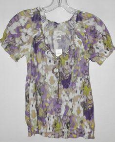 Ann Taylor Loft Peasant Blouse Purple, Green, & White Elastic Waist Sz XSP NWT