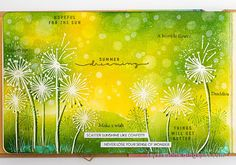 Hi friends! Today I have a summery art journal page to share, which could just as well be a card. I created a fun bokeh effect in the backgr... Bokeh Effect, Beach Cards, White Gel Pen, Art Journal Pages, Art Journaling, Artist Trading Cards, Simon Says Stamp, Mixed Media Canvas, Card Kit