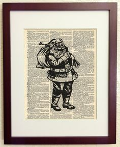 Vintage Santa Claus - Art Print on Vintage Antique Dictionary Paper - Christmas Saint Nick. $7.99, via Etsy.