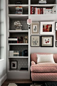 """This cosy, fun and inviting snug area was designed by [link url=""""http://www.houseandgarden.co.uk/the-list/profile/turner-pocock""""]Turner Pocock[/link]. It needed to store books and be comfortable for watching television. [link url=""""http://www.houseandgarden.co.uk/the-list/profile/turner-pocock""""]Turner Pocock[/link] drew on the colours from surrounding rooms and created a riot of colour and pattern which is perfect for this small space. The cluttered yet neat and organised styling makes the…"""