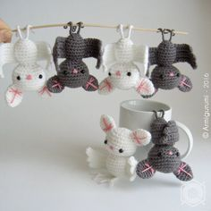 Little grey Bat, decorative hanging amigurumi, crocheted. Grey, white or black…