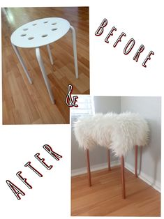 """Before & after (DIY VANITY CHIC STOOL)  - purchased a """"Marius"""" IKEA stool for $4.99 and a """"Tejn"""" IKEA faux sheepskin for $12.99. Spray painted with Rustoleum Metallic Copper (already had some at home). To put together you simply get oversized safety pins and pin on the bottom. I had some at home but you can purchase at Joanns for $2 or $3. THATS IT! A cheap stool transformed into a cute vanity chair."""