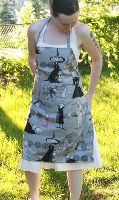 Ghastlies Apron Grey Alexander Henry by lucyintheskyquilts on Etsy, $22.00