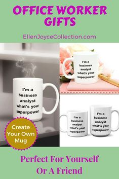 Need an office coworker gift? Our business analyst personalized coffee mug is the perfect gift for your best work friend, supervisor or family member. Great for many occasions. This white ceramic mug is microwave & dishwasher safe. All mugs come in 2 s Mother Birthday Gifts, Birthday Gifts For Husband, Best Birthday Gifts, Gifts For Father, Small Gifts For Coworkers, Gifts For Colleagues, Creative Birthday Ideas, Birthday Ideas For Her, Personalized Office Gifts